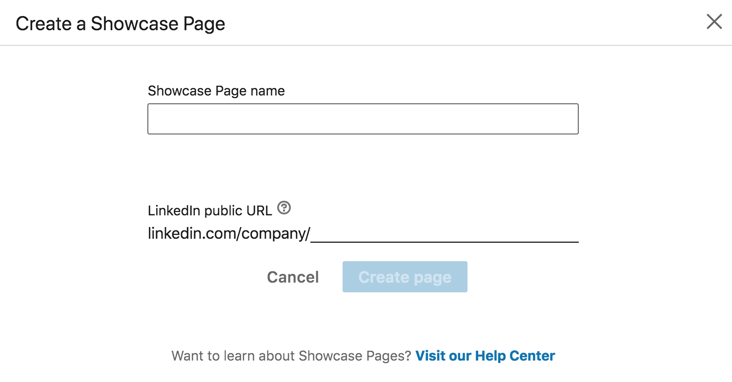 Showcase page name and URL settings