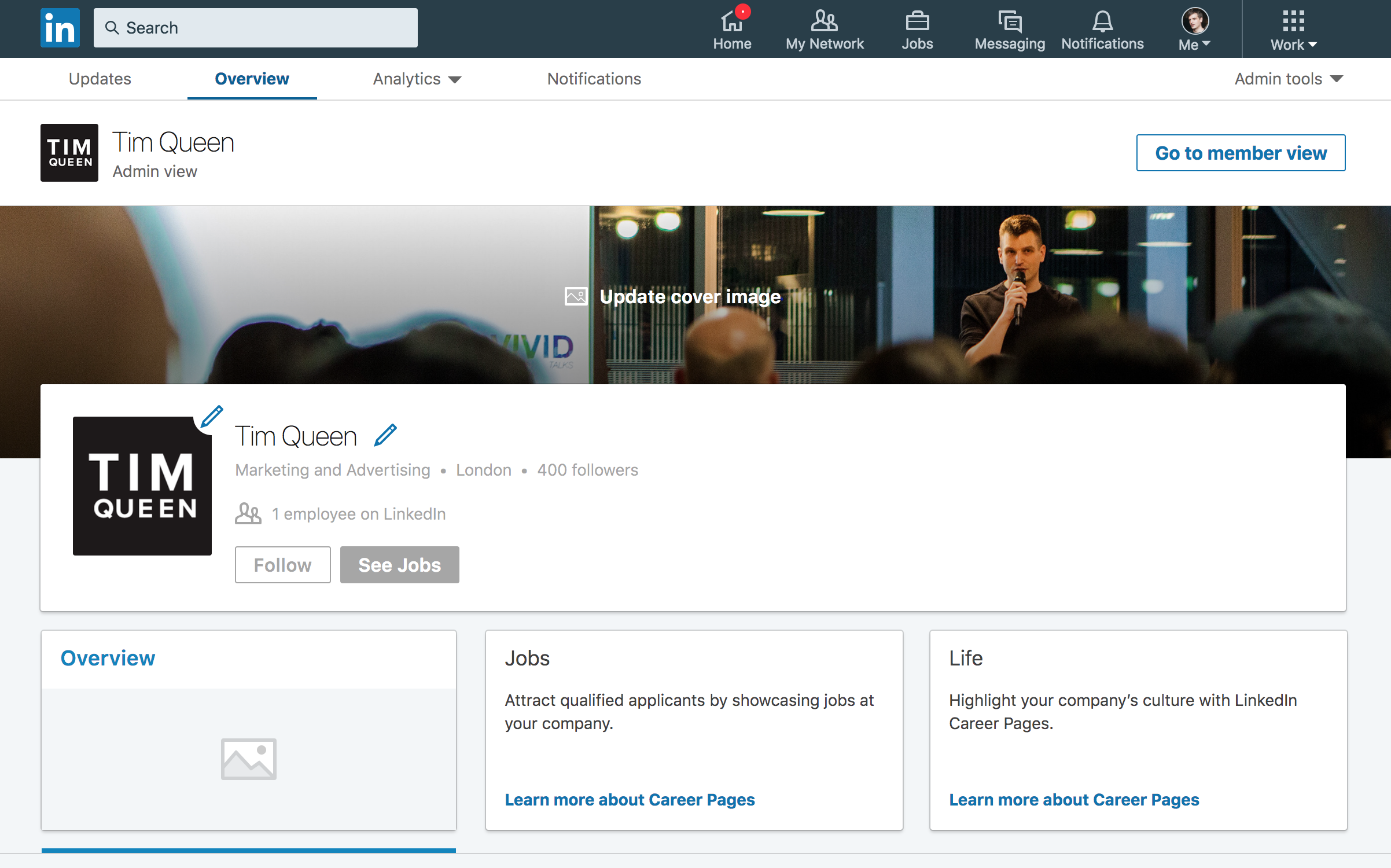 Optimized LinkedIn company page dashboard