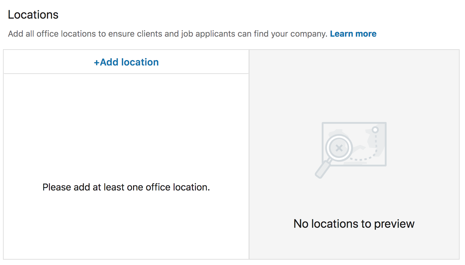 LinkedIn page location settings
