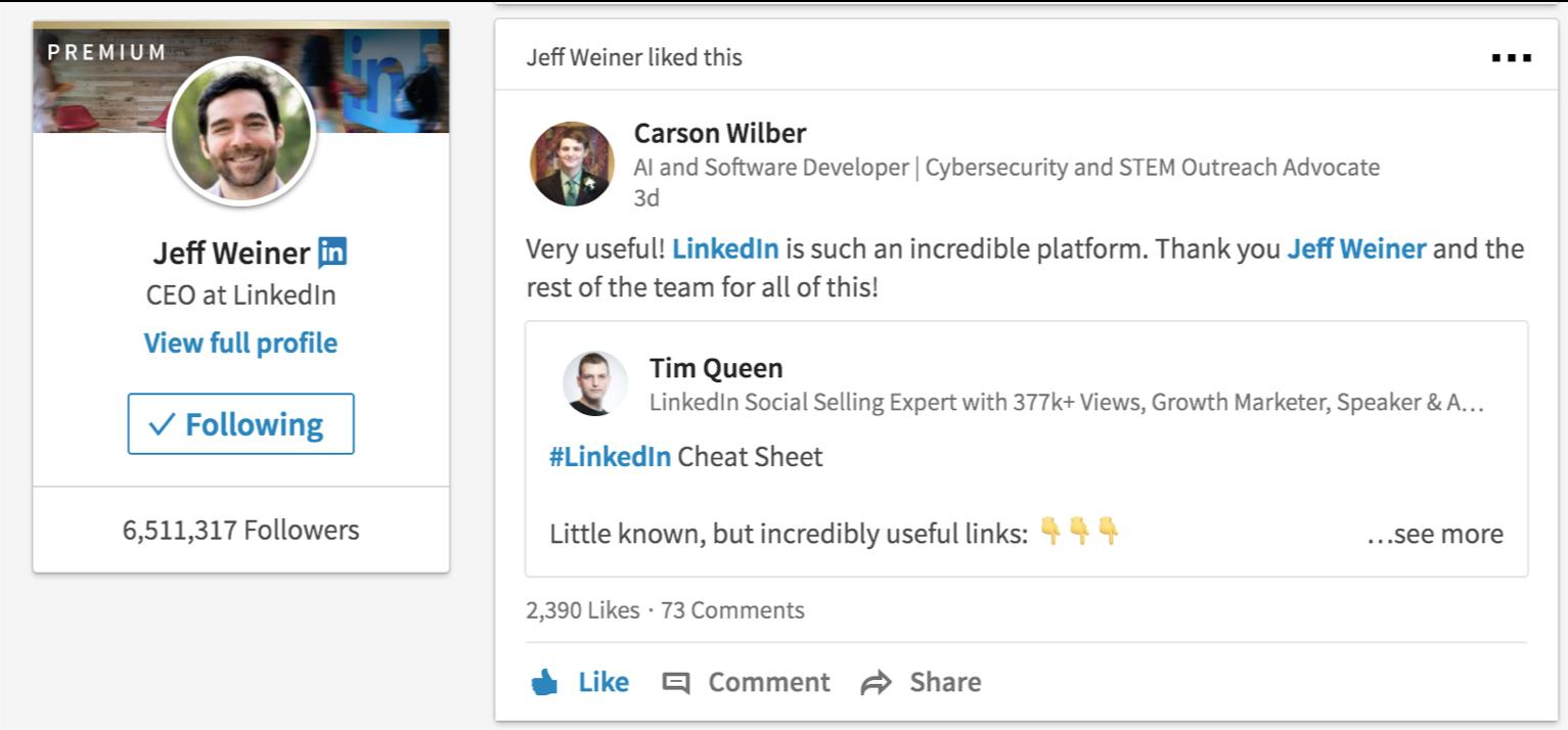 Jeff Weiner likes Tim Queen Post 1